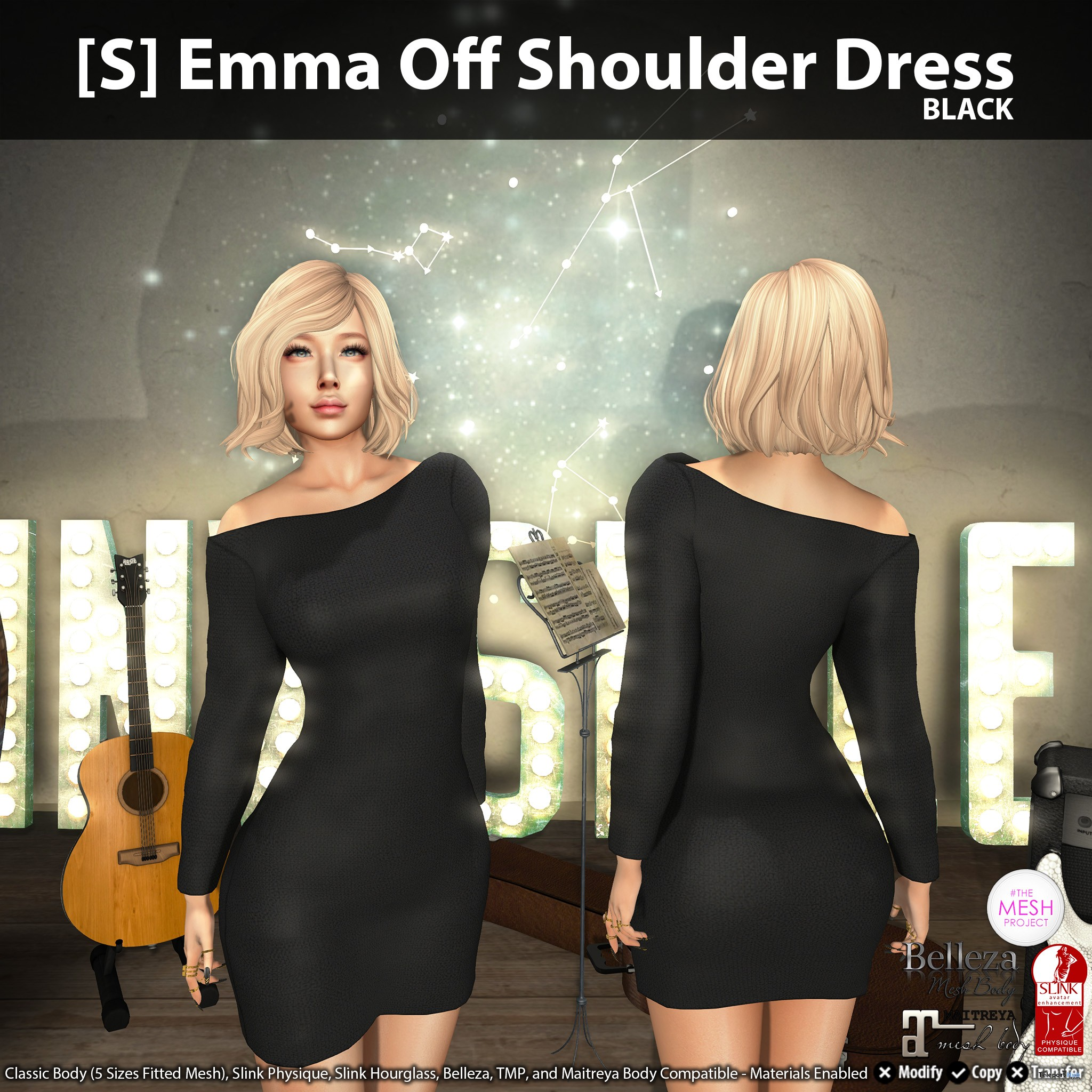 New Release: [S] Emma Off Shoulder Dress by [satus Inc] - Teleport Hub - teleporthub.com