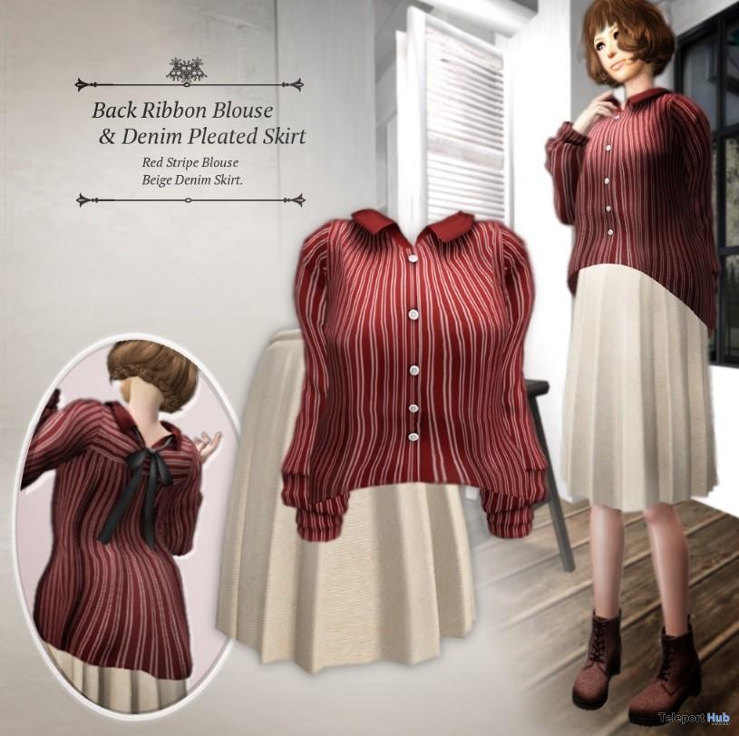 Back Ribbon Blouse & Denim Pleated Skirt Group Gift by S@BBiA - Teleport Hub - teleporthub.com