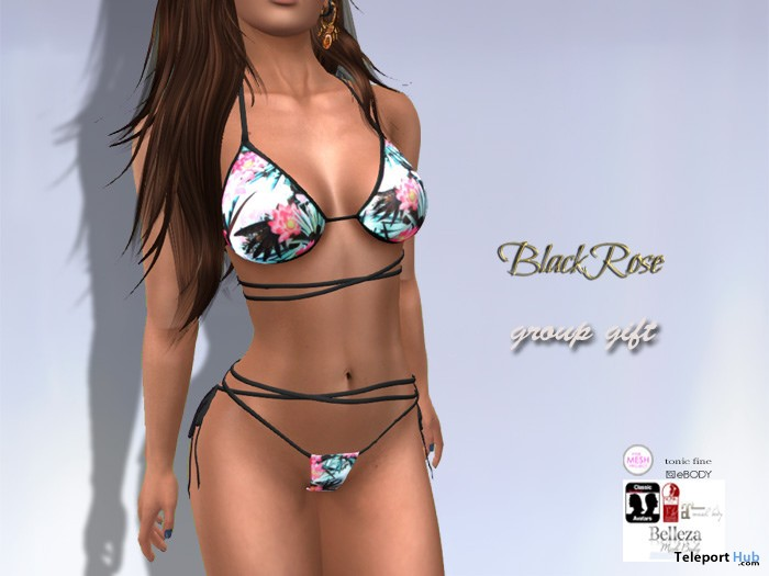 Chloe Bikini Floral June 2017 Group Gift by Black Rose - Teleport Hub - teleporthub.com