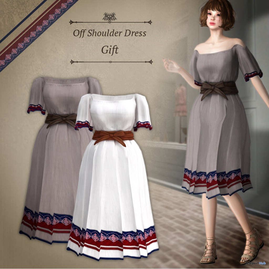 Off Shoulder Dress Group Gift by S@BBiA - Teleport Hub - teleporthub.com