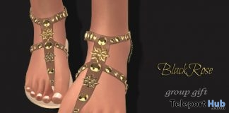 Flat Sandals July 2017 Group Gift by Black Rose - Teleport Hub - teleporthub.com