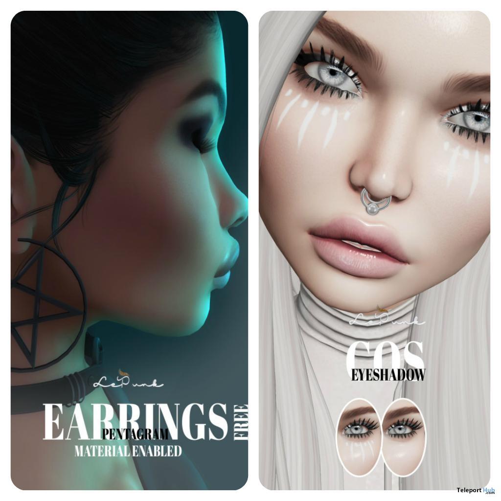 Pentagram Earrings & Cos Eyeshadow Applier For Lelutka Head Group Gift by LePunk - Teleport Hub - teleporthub.com