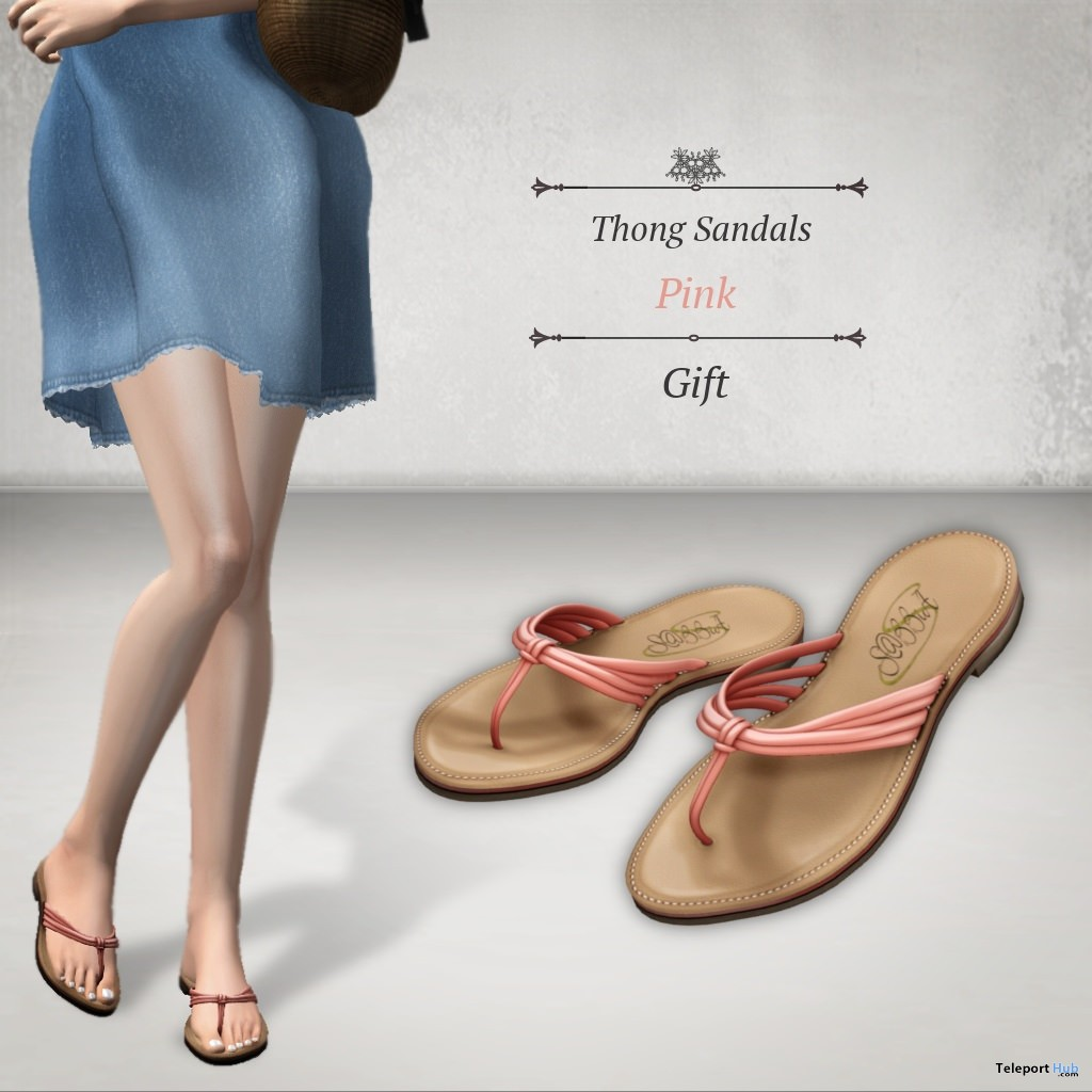 Thong Sandals Pink Group Gift by S@BBiA - Teleport Hub - teleporthub.com