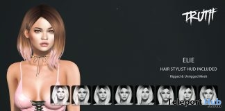 Elie Hair With Stylist HUD August 2017 VIP Group Gift by TRUTH HAIR - Teleport Hub - teleporthub.com