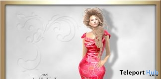 Red Floral Gown August 2017 Group Gift by AZUL - Teleport Hub - teleporthub.com