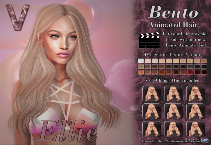 Ellie Bento Animated Hair 1L Promo Gift by Vallani - Teleport Hub - teleporthub.com