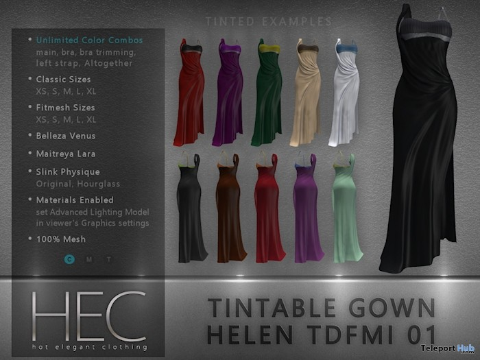 Multi-Face Tintable Gown Dress Helen 99L Promo by HEC - Teleport Hub - teleporthub.com