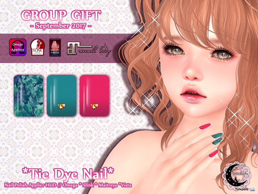Tie Dye Nail September 2017 Group Gift by petit chambre - Teleport Hub - teleporthub.com