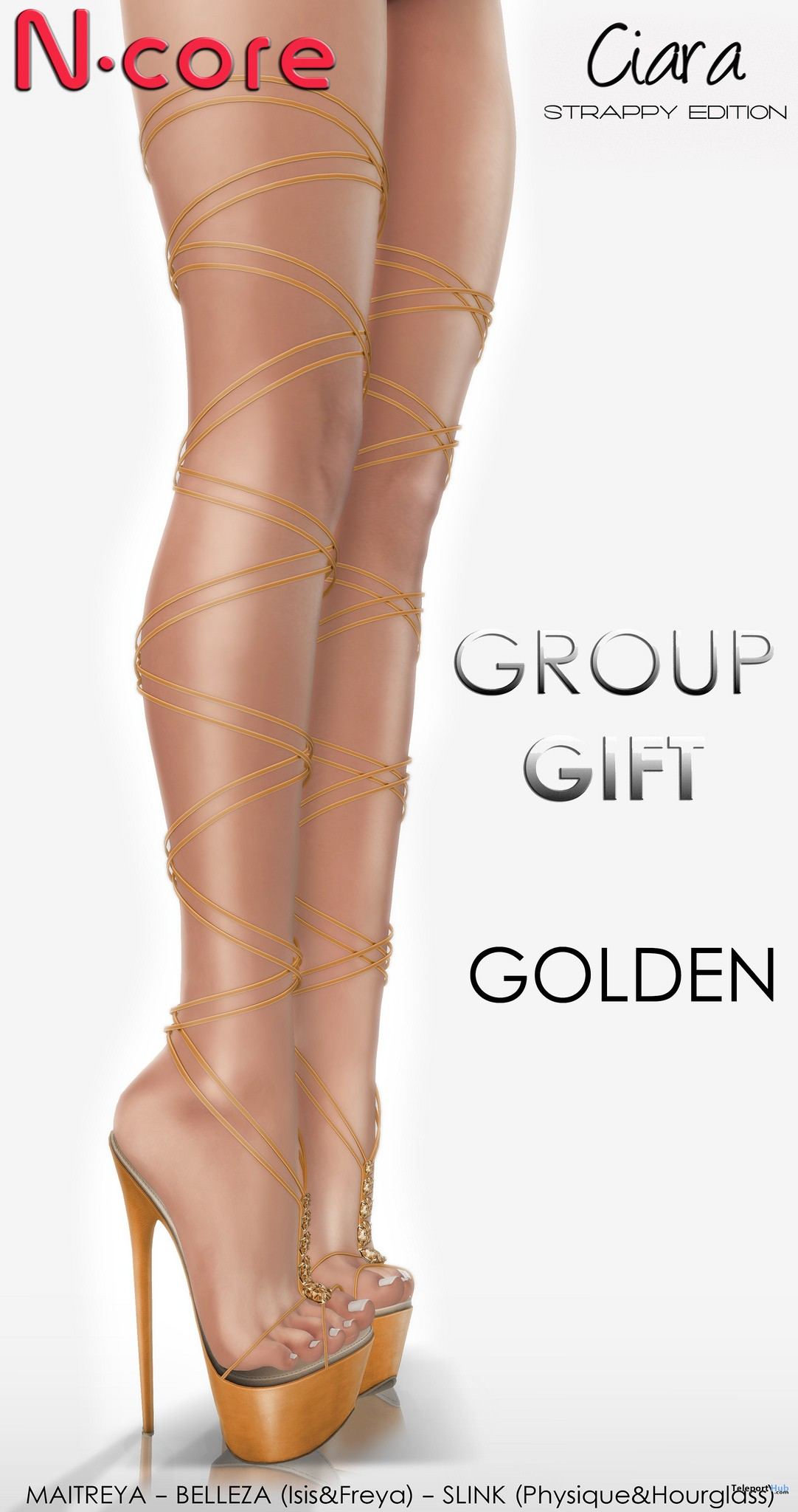 Ciara Heels Strappy Edition Golden September 2017 Group Gift by N-CORE - Teleport Hub - teleporthub.com