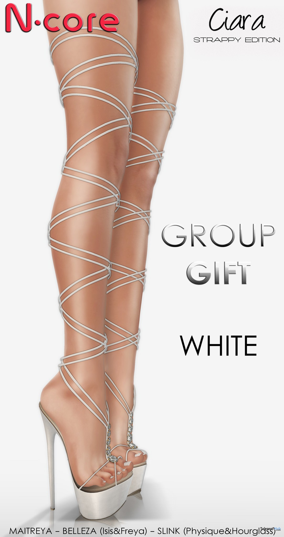 Ciara Heels Strappy Edition White September 2017 Group Gift by N-CORE - Teleport Hub - teleporthub.com