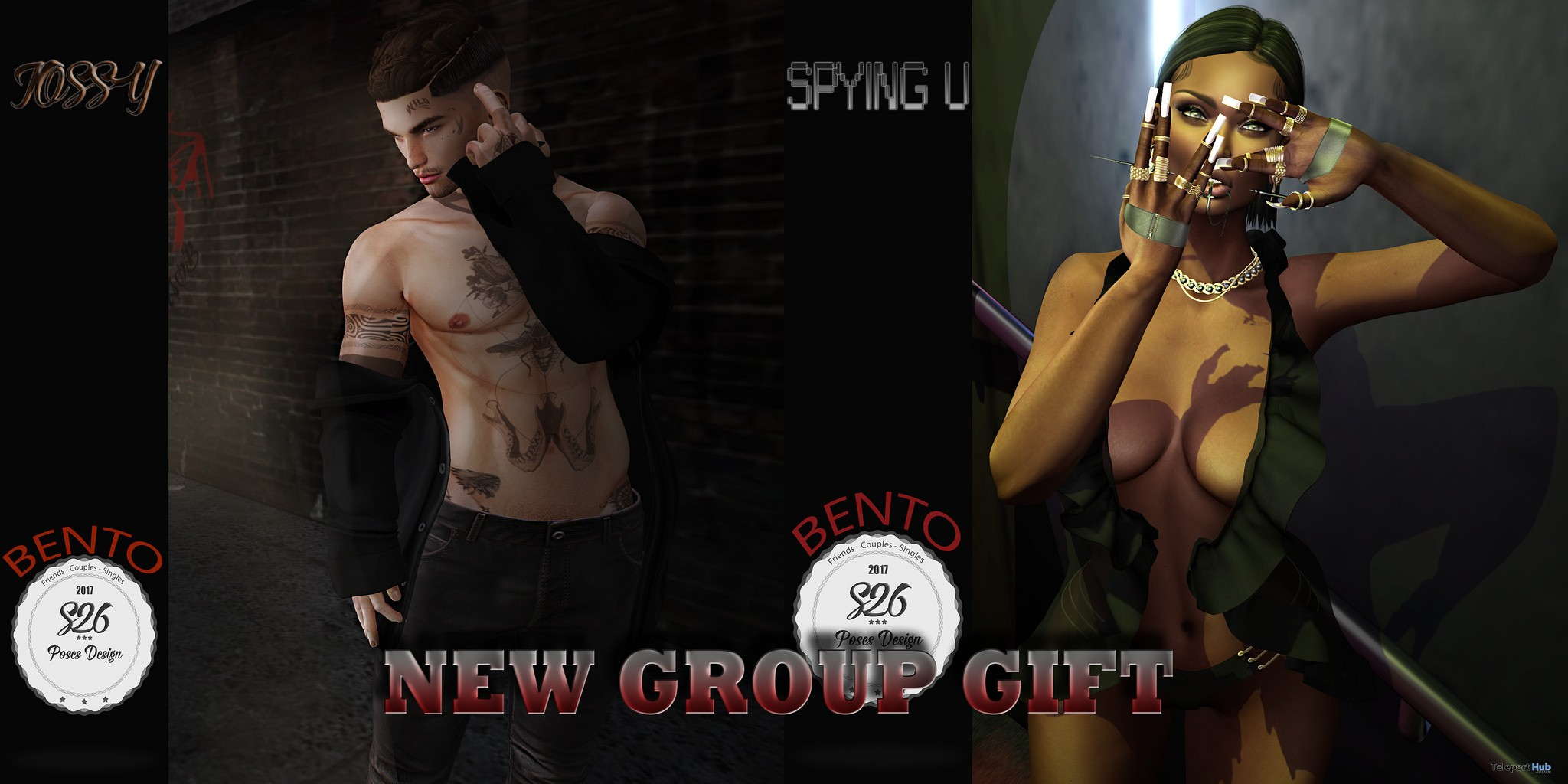 Jossy & Spying You Bento Poses September 2017 Group Gift by S26 Pose Store - Teleport Hub - teleporthub.com