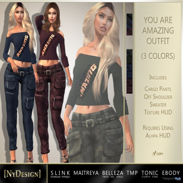 You Are Amazing Outfit 3 Colors September 2017 Group Gift by NyDesign - Teleport Hub - teleporthub.com