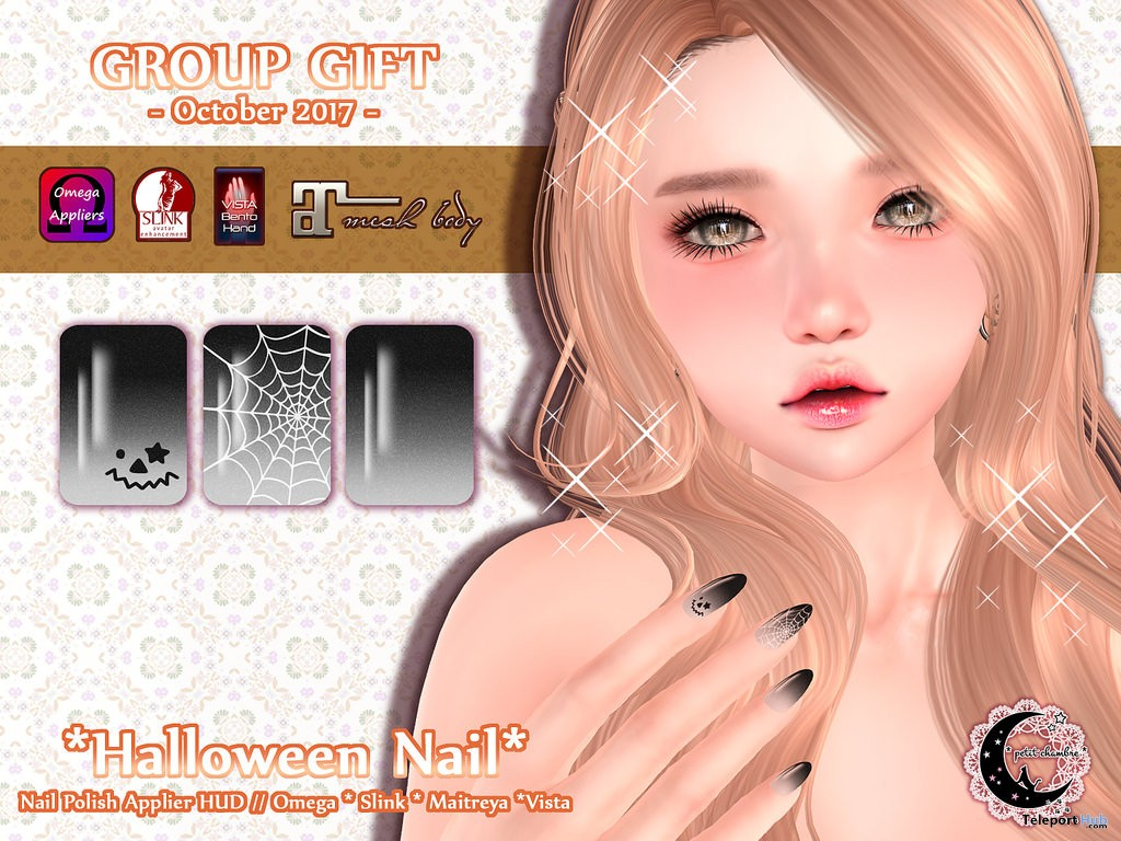 Halloween Nail October 2017 Group Gift by petit chambre - Teleport Hub - teleporthub.com