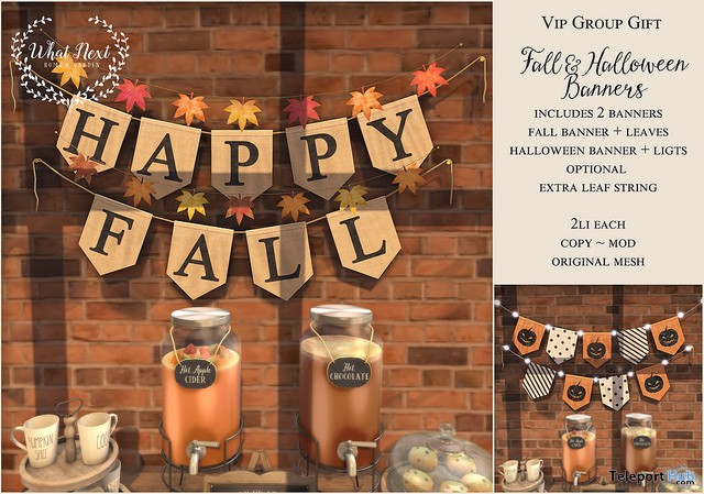 Fall & Halloween Banners October 2017 Group Gift by What Next - Teleport Hub - teleporthub.com