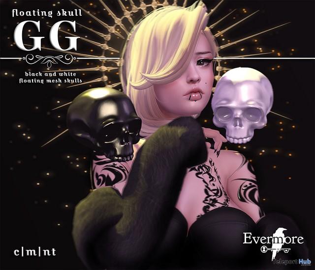 Floating Skull Black & White October 2017 Group Gift by Evermore - Teleport Hub - teleporthub.com