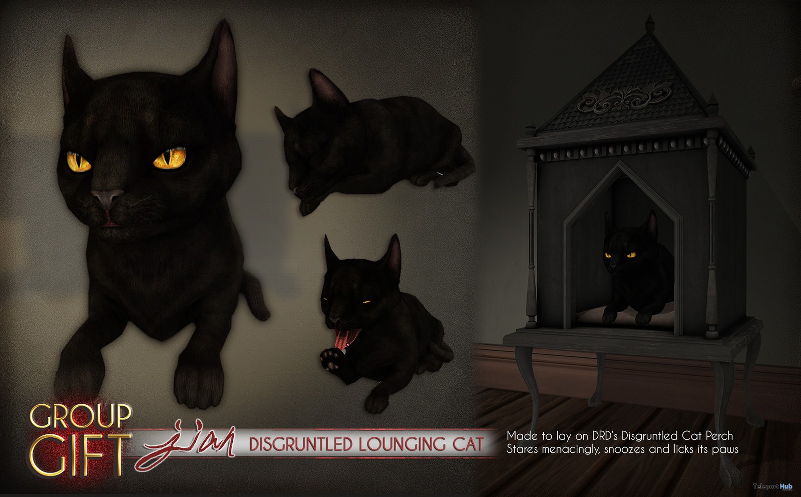 Disgruntled Lounging Cat October 2017 Group Gift by JIAN - Teleport Hub - teleporthub.com