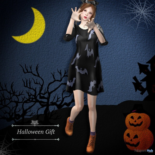 Halloween Bat Dress October 2017 Group Gift by S@BBiA - Teleport Hub - teleporthub.com