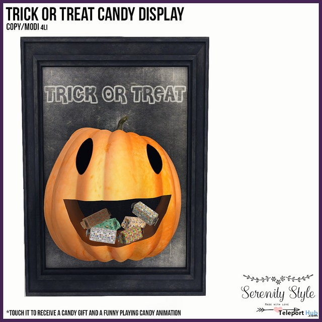 Trick or Treat Candy Display October 2017 Group Gift by Serenity Style - Teleport Hub - teleporthub.com