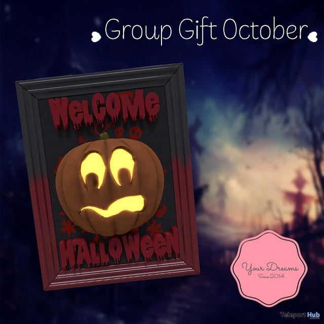 Pumpkin Door Hanger October 2017 Group Gift by Your Dreams - Teleport Hub - teleporthub.com
