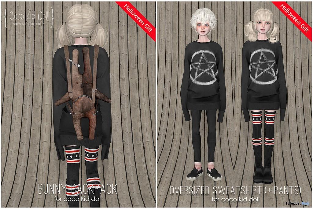 Oversized Sweatshirt & Bunny Backpack Halloween 2017 Group Gift by COCO Kid Doll - Teleport Hub - teleporthub.com
