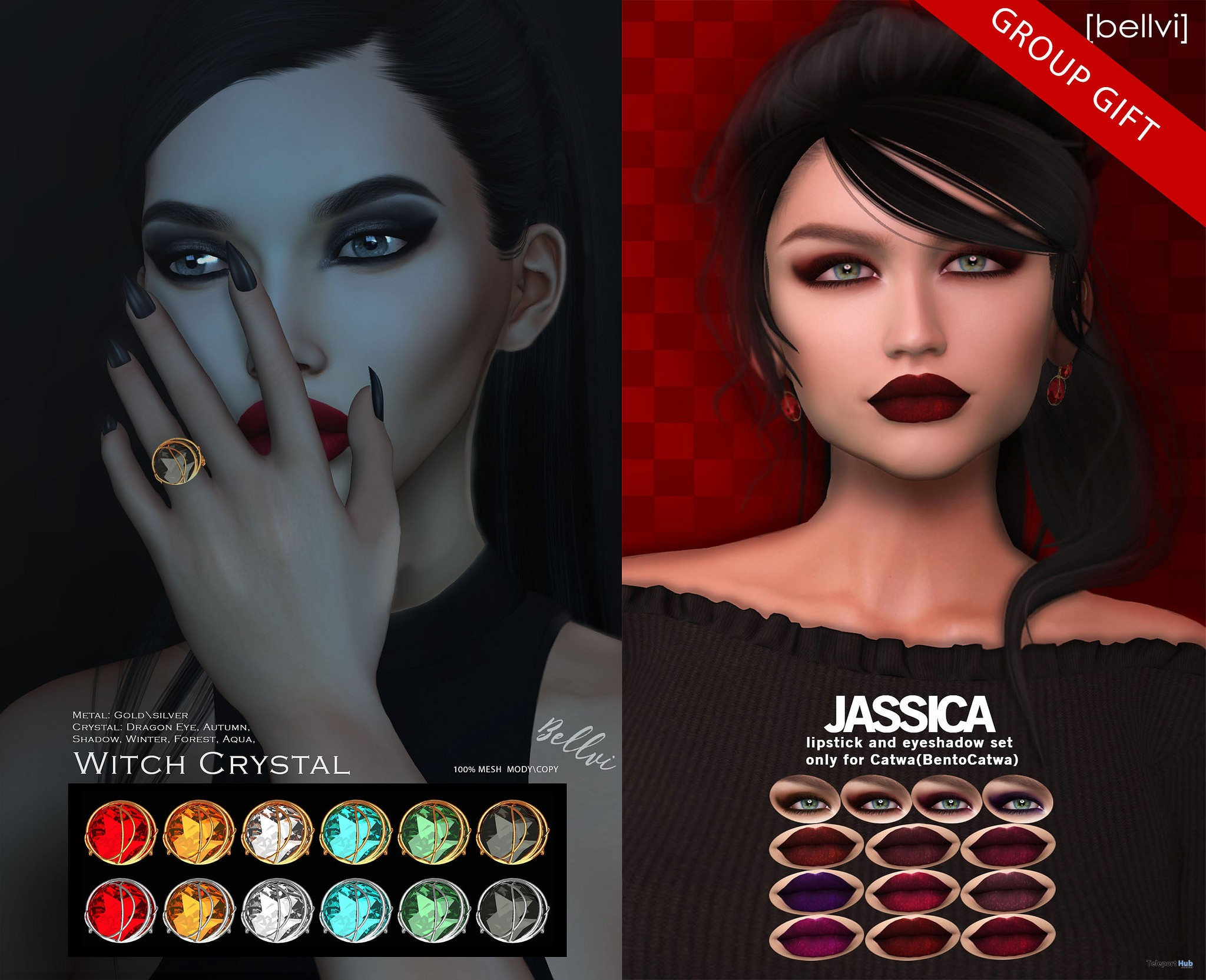 Jassica Catwa Makeup Set & Witch Crystal Ring Halloween 2017 Group Gift by [bellvi] - Teleport Hub - teleporthub.com