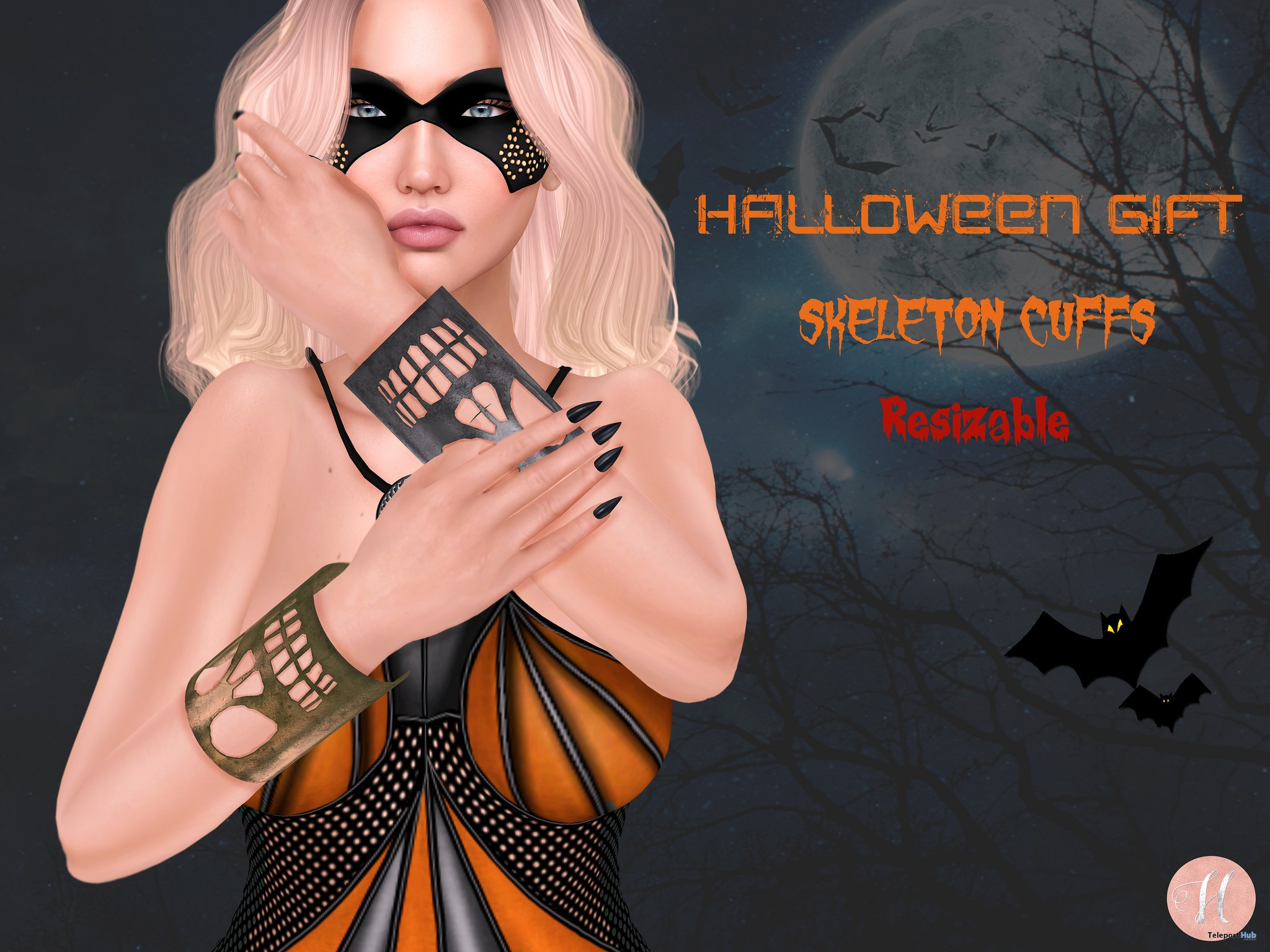Skeleton Cuffs October 2017 Group Gift by Hilly Haalan - Teleport Hub - teleporthub.com
