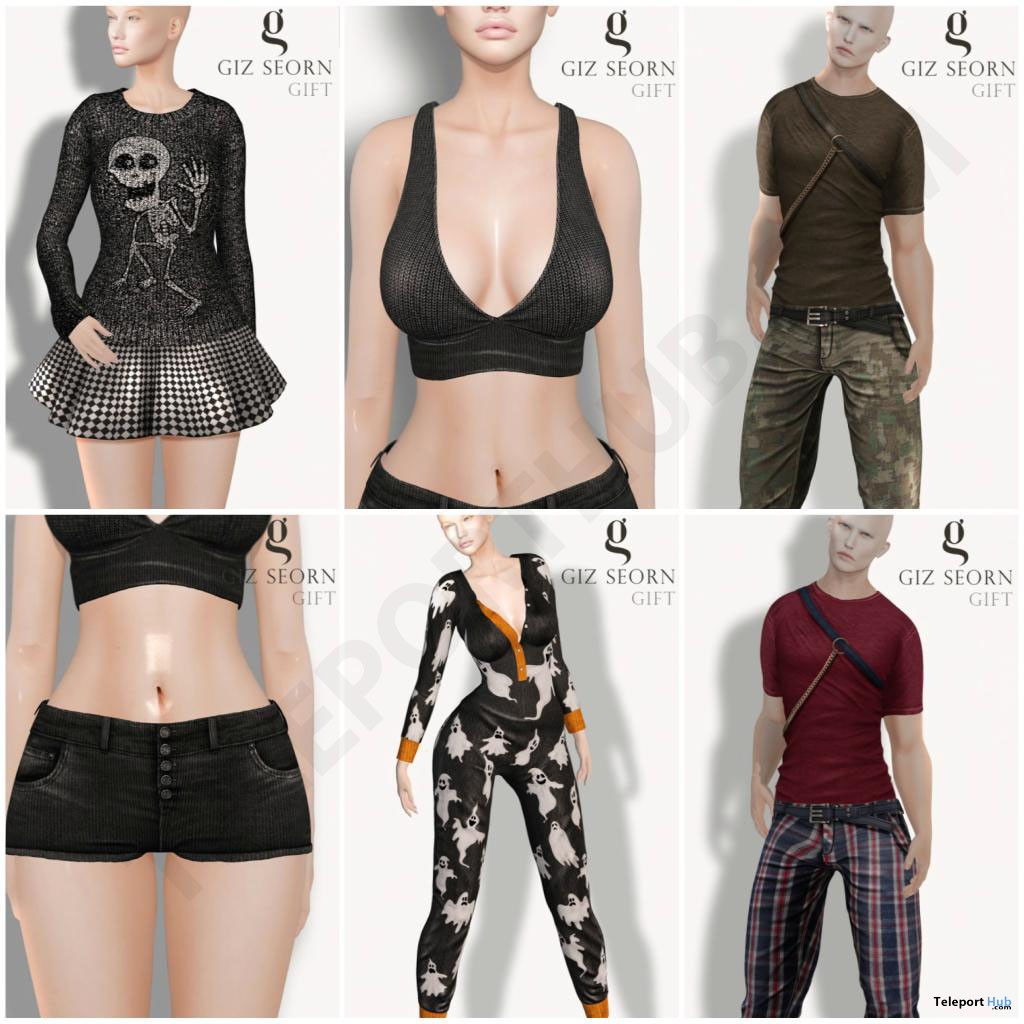 Six Outfits For Men & Women October 2017 Group Gifts by Giz Seorn - Teleport Hub - teleporthub.com