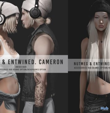New Release: Unisex Cameron & Camille Hair by Nutmeg x Entwined @ Shiny Shabby October 2017 - Teleport Hub - teleporthub.com