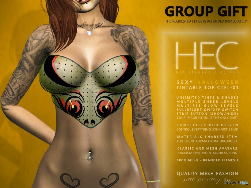 Sexy Halloween Top Tintable October 2017 Group Gift by HEC - Teleport Hub - teleporthub.com