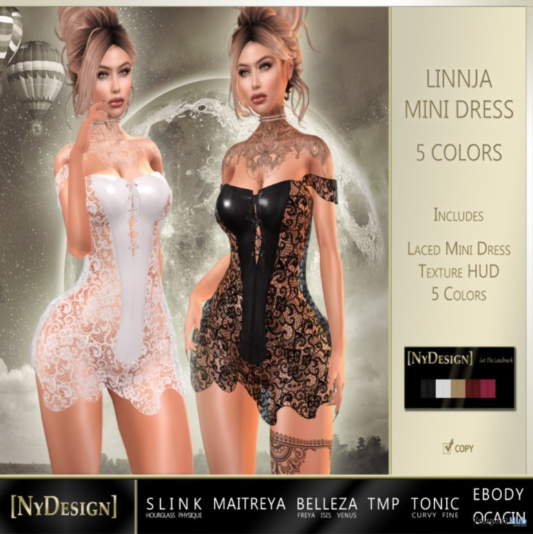 Linnja Laced Dress 5 Colors October 2017 Group Gift by NyDesign - Teleport Hub - teleporthub.com