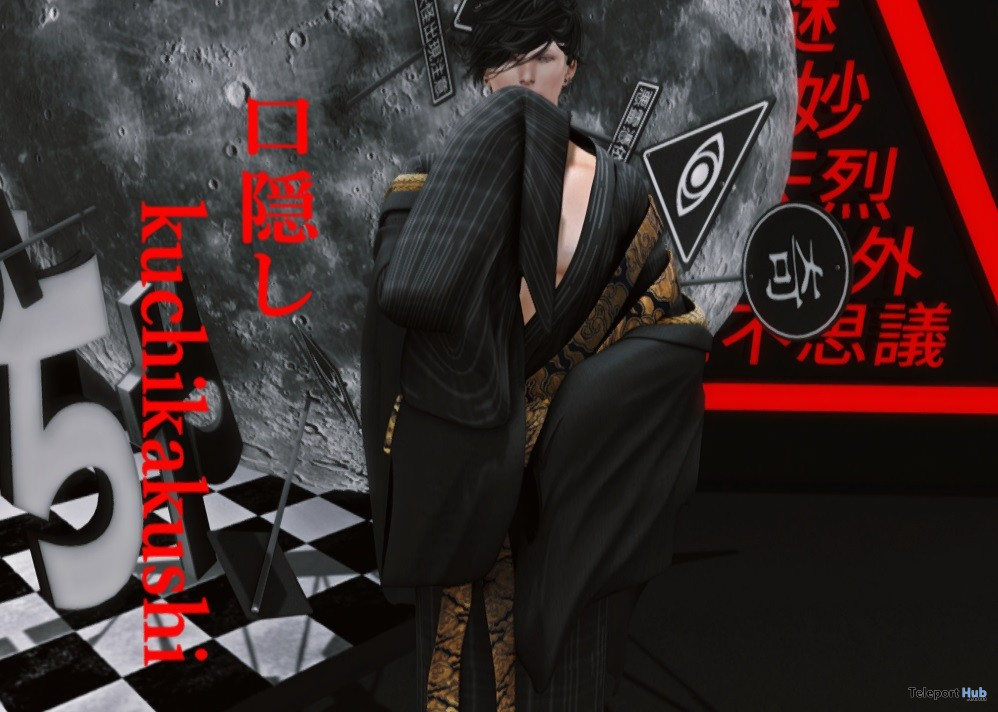 Kuchikakushi TYPE C Bloody Male Kimono KURENAI Event October 2017 Group Gift by HILU - Teleport Hub - teleporthub.com