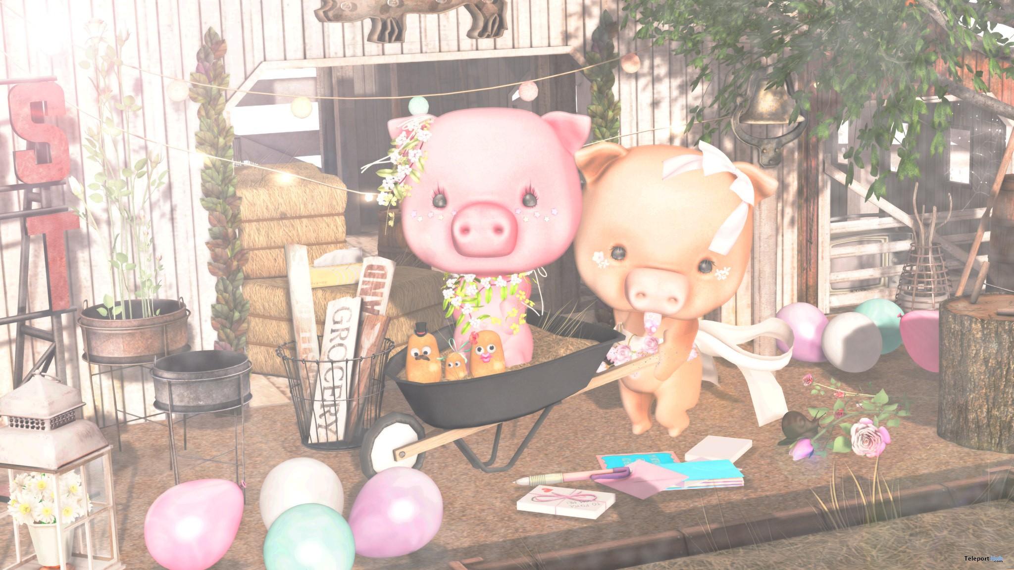 Piggy Avatar Beige & Pink SaNaRae Event September 2017 Group Gift by NiU - Teleport Hub - teleporthub.com