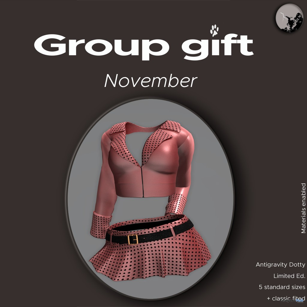 Antigravity Dotty V Jacket & Skirt November 2017 Group Gift by Petit Chat - Teleport Hub - teleporthub.com