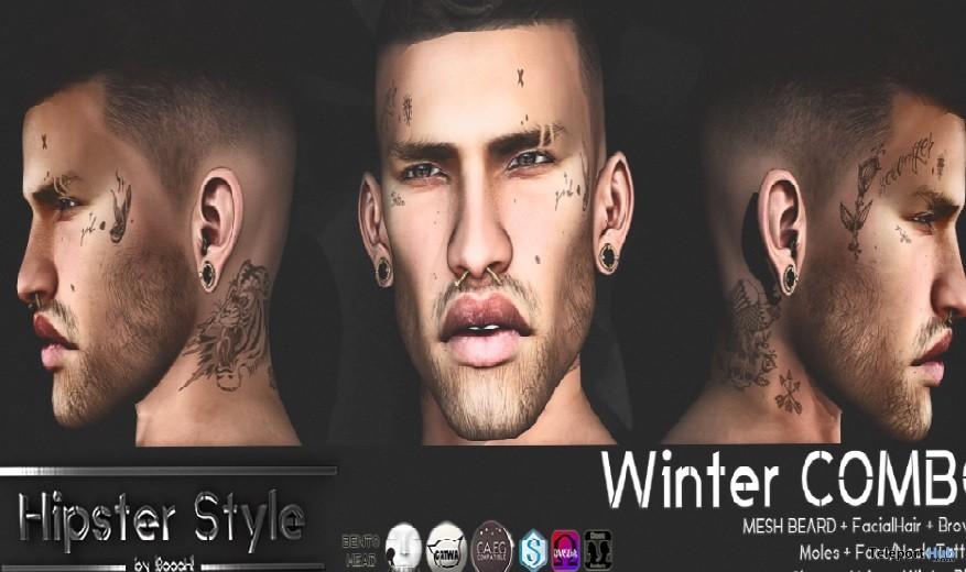 Winter Combo: Beard & Face Tattoo Hipster Men November 2017 Group Gift by Hipster Style - Teleport Hub - teleporthub.com