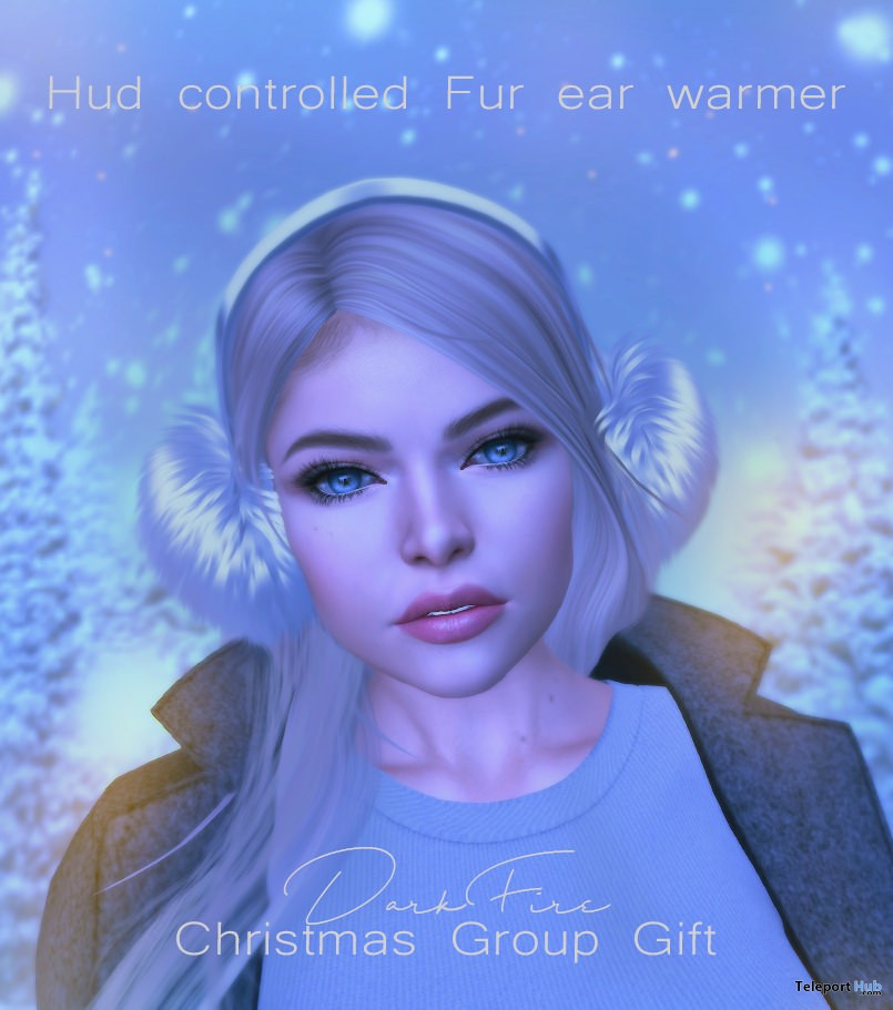 Fur Ear Warmer With HUD December 2017 Group Gift by DarkFire - Teleport Hub - teleporthub.com