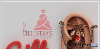 Mesh Ears With Piercing Kit & HUD Christmas 2017 Group Gift by PUMEC - Teleport Hub - teleporthub.com
