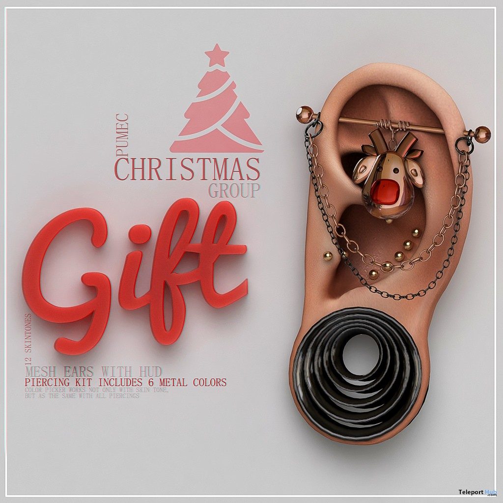 Mesh Ears With Piercing Kit & HUD Christmas 2017 Group Gift by PUMEC - Teleport Hub - teleporthub.com
