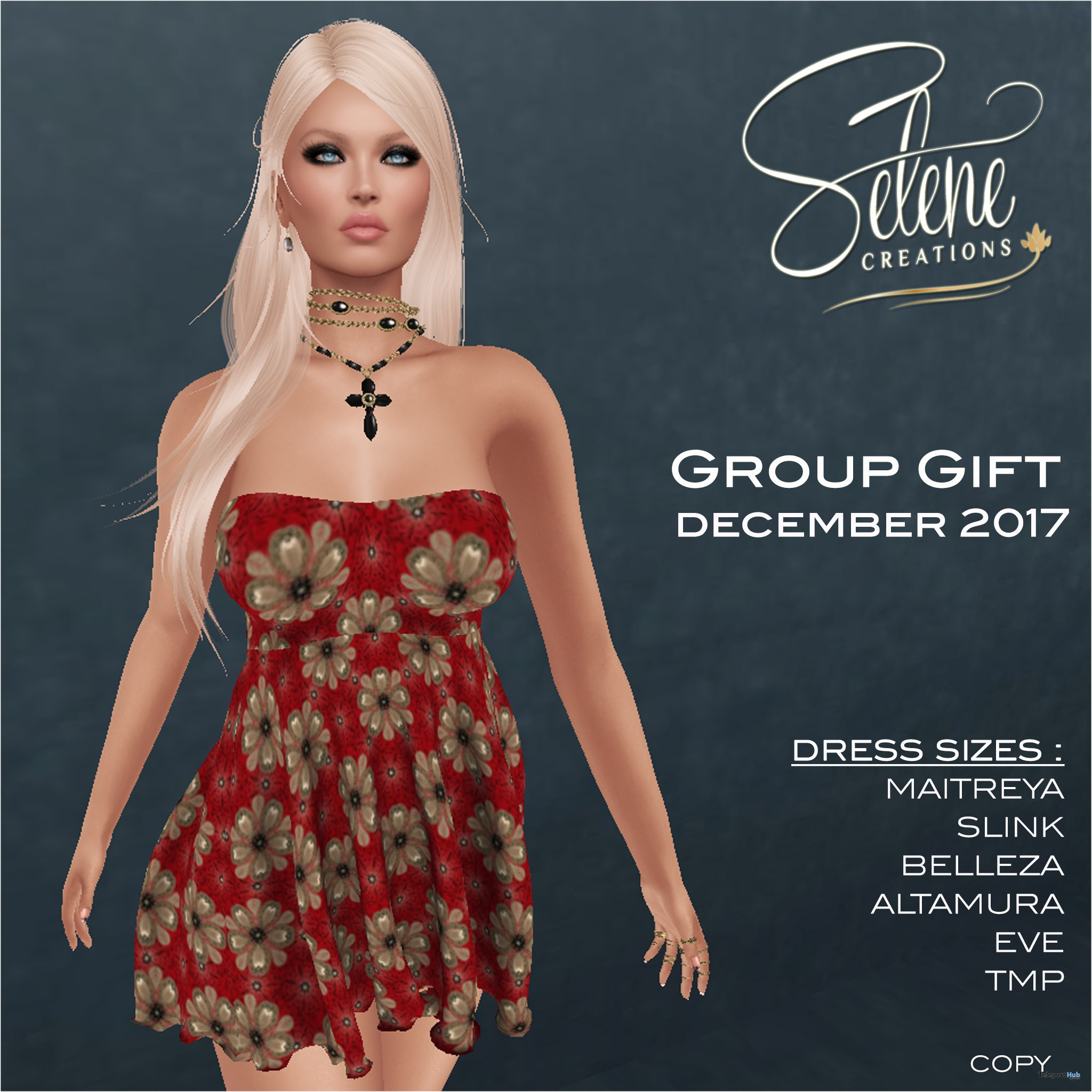 Floral Red Dress December 2017 Group Gift by Selene Creations - Teleport Hub - teleporthub.com