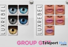 Glitter Lipstick Pack & Catwa Eyes Appliers Group Gift by LUXREBEL - Teleport Hub - teleporthub.com