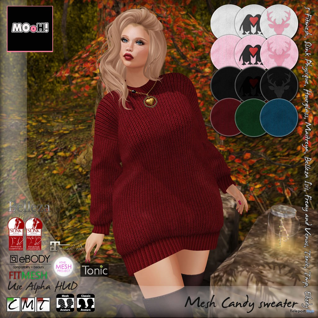 Candy Sweater Fatpack December 2017 Group Gift by MOoH! - Teleport Hub - teleporthub.com