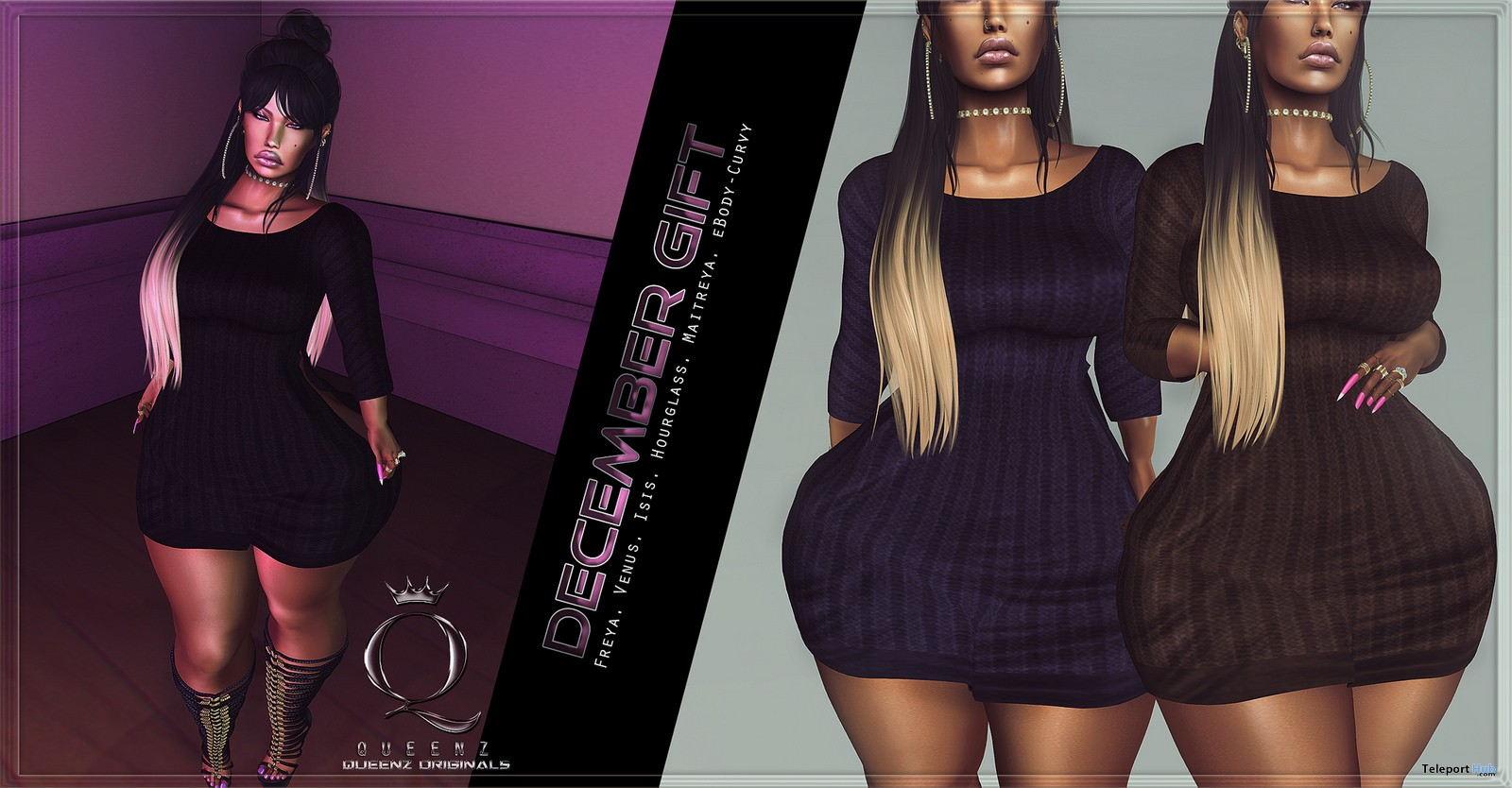 Sweater Dress December 2017 Group Gift by QUEENZ - Teleport Hub - teleporthub.com