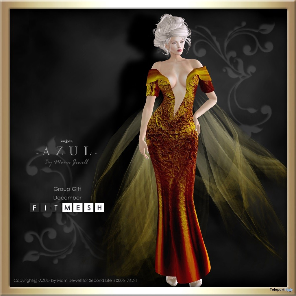Deep Cleavage Cut Gown December 2017 Group Gift by AZUL - Teleport Hub - teleporthub.com