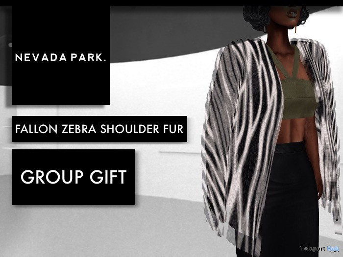 Fallon Zebra Shoulder Fur December 2017 Group Gift by NEVADA PARK - Teleport Hub - teleporthub.com