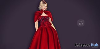 Rouge Gown Red December 2017 Group Gift by PurpleMoon - Teleport Hub - teleporthub.com