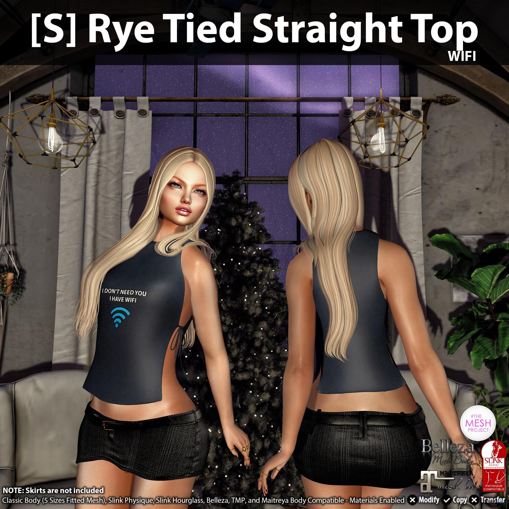 [S] Rye Tied Straight Top Wifi Teleport Hub Group Gift by [satus Inc] - Teleport Hub - teleporthub.com