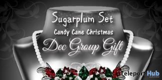 Sugar Plum Candy Cane Christmas Necklace December 2017 Group Gift by Zuri Jewelry - Teleport Hub - teleporthub.com