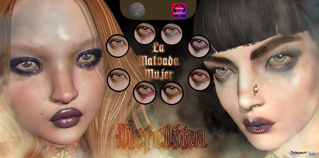 Nefelina Eyeshadows Omega & Genesis Lab Appliers January 2018 Group Gift by La Malvada Mujer - Teleport Hub - teleporthub.com