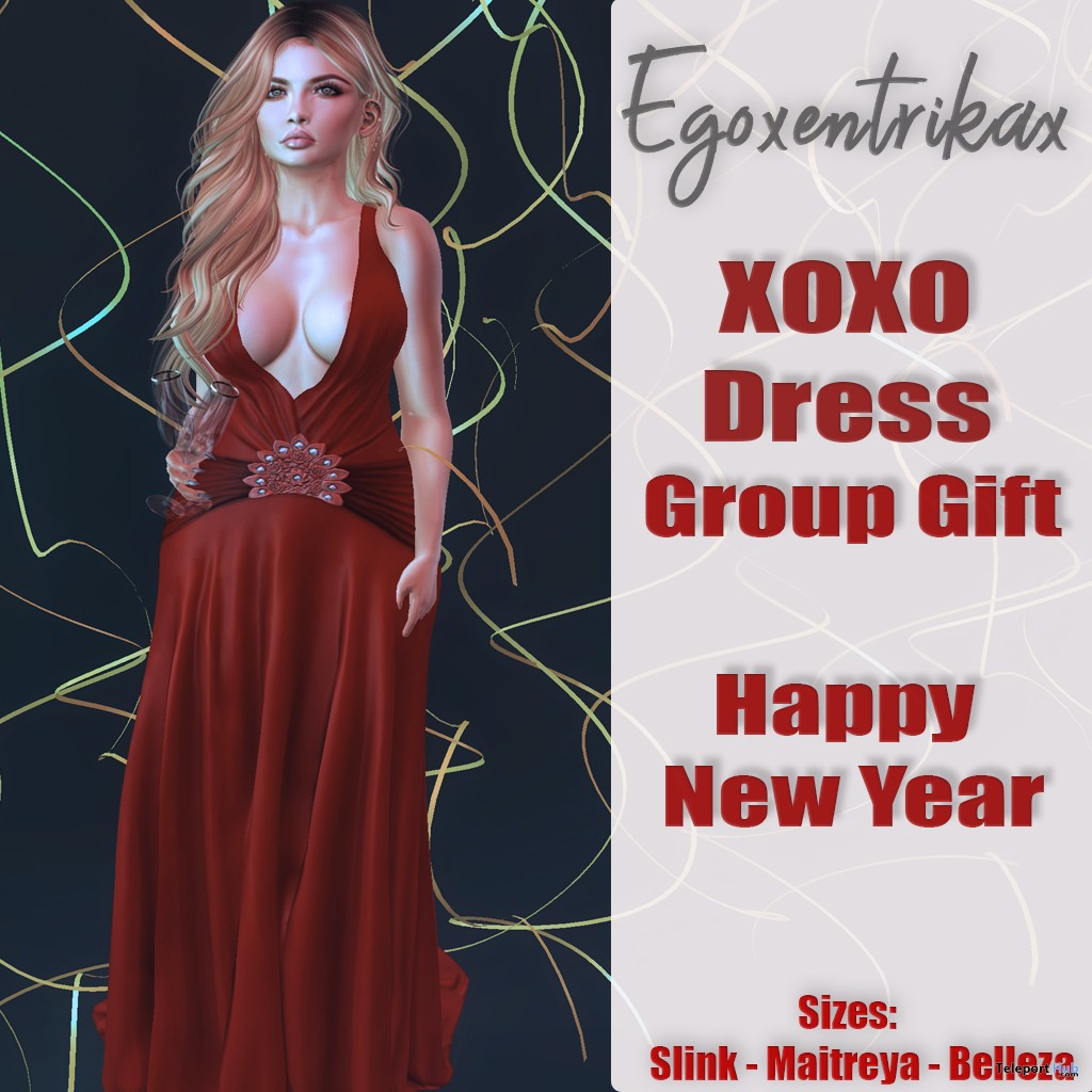 XOXO New Year Dress January 2018 Group Gift by Egoxentrikax - Teleport Hub - teleporthub.com