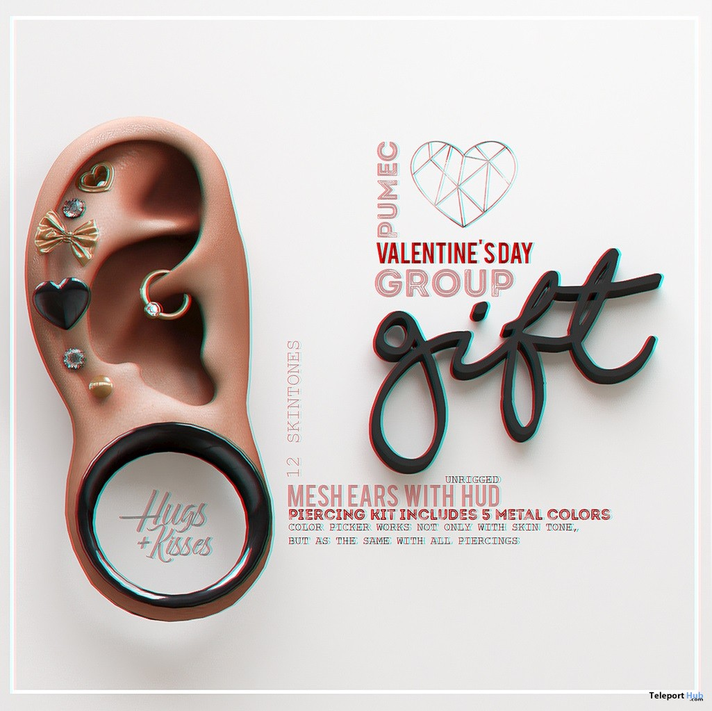 Mesh Ears With Piercing Kit Valentine 2018 Group Gift by PUMEC - Teleport Hub - teleporthub.com