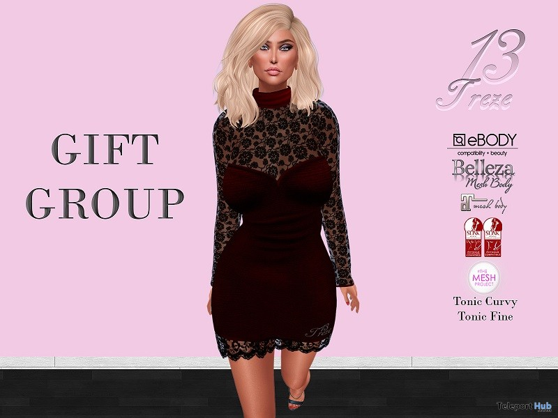 Mindy Dress Black February 2018 Group Gift by 13Treze - Teleport Hub - teleporthub.com